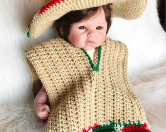 Baby Sombrero and Poncho Photo Prop - Newborn to 3 months - Tan and Multi-color