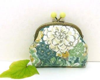 Green Floral Cosmetic Bag,Coin Purse Metal Frame Purse Kiss Lock Purse Money Purse Mini Clutch Gift for Her Accessory pouch Cute purse K-M-3