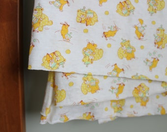 Super Soft Circus Clown and Bear Baby Fabric, Stretchy, 38x55 Inches, Yellow and Green, Juggling Clown