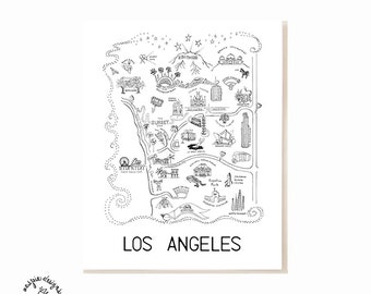 Los Angeles City Map Art Print - Black & White