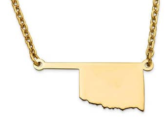 14K Yellow or White Gold Sterling Silver or Gold Plated Silver Oklahoma OK State Map Name Necklace Personalized Engraved Monogram CMZ415