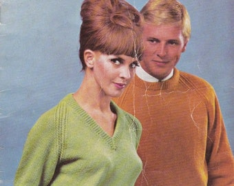 ON SALE Villawool Classic Raglan Sweaters Knits for Lady's and Men Knitting Pattern Book No 136 Vintage 1970s Jumpers, Sweaters Vintage Knit