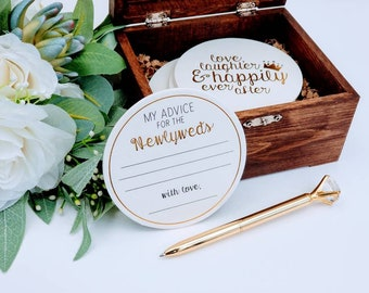 Advice Coasters Set | Guest Advise Coasters | Wedding Advice Guests Coasters | Custom Keepsake Box | Wedding Advice  | ©