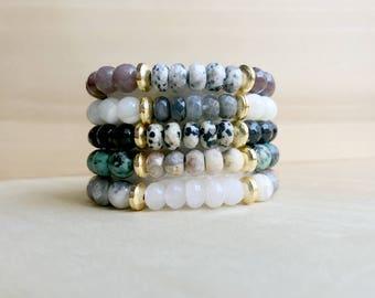 Gemstone Stacking Bracelets, Boho Stretch Bracelet, Stretchy Bracelet