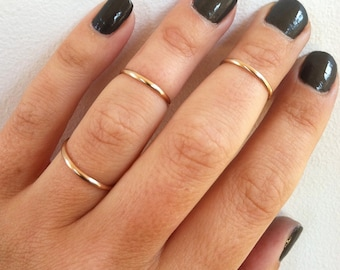 Set of 3 Mid Knuckle Rings -14K Gold Filled Stacking Rings, Midi Ring,  Gold Rings-in any sizes