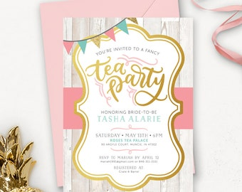 Rustic Floral Bridal Shower Invitation / Tea Party Bridal Shower Invitation Printable / Tea Party Invitations / Wedding Shower Invitation