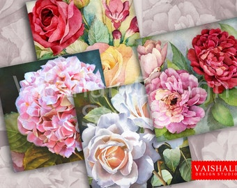FLORAL COASTERS - watercolour, Digital Print download, 3.8x3.8 inch size, 1 sheet,