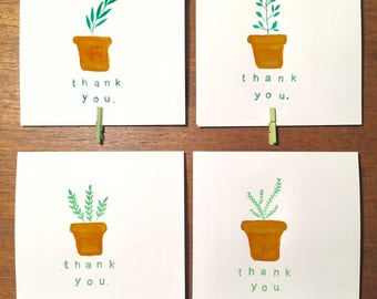 Thank you cards - Floral & Herb - Pack of 8