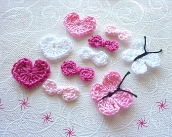 all scrapbooking crocheted hearts and butterflies in pink and white