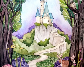 Castle Watercolor Painting Art Print