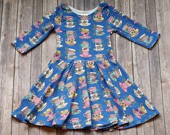 Tea Cup Dress. Tea Party Dress. Tea Dress. Baby Dress. Toddler Dress. Twirl Dress. Twirly Dress. Play Dress. Birthday Dress.