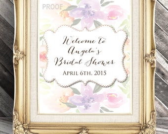 Bridal Shower Welcome Sign - Water Color - Watercolor - Whimsical