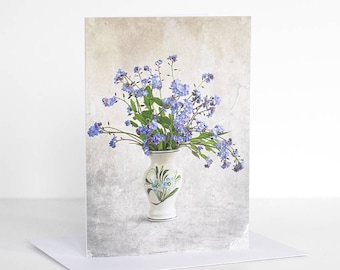 Photo greeting card, Forget me not Photographic Greeting Card. Blank card. Photo card. Floral greeting card. Flower greeting card.