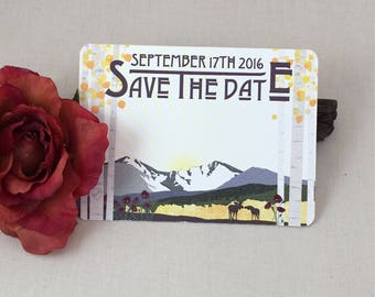 Longs Peak Colorado Save the Date Postcards with Moose and Birch trees