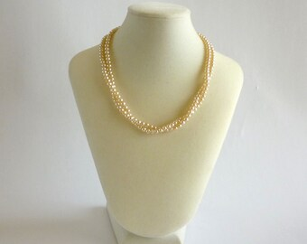 1950s Pearl Necklace, Two Strand Pearl Necklace