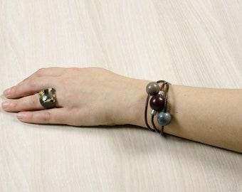 Bracelet SIFTER blue denim/gray / dark red - gem / Tagua / vegetable ivory / natural / ethical / fair trade / woman / Ecuador
