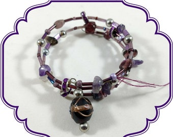 Purple Glass Beaded Bracelet, Purple and Gold Memory Wire Bracelet, Purple Coil Bracelet