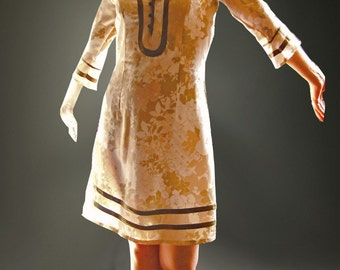 Femenine day dress. Italian-inspired . IT silk dress