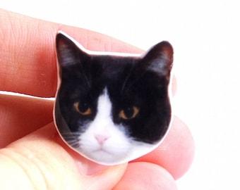 Large kawaii ring cat black and white (bad)