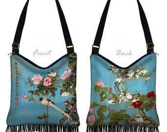 Hobo Bag Purse Hippie Bag  Crossbody Purse Boho Bag Bohemian Gyspy Bag Fringe Purse, Japanese Floral Art bag Asian Bird blue pink red  RTS