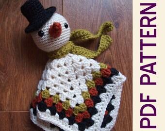 Amigurumi Winter Snowman Security Blanket Lovey PDF Crochet Pattern