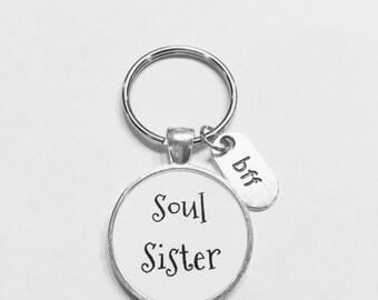 Best Friend Gift, Soul Sister Keychain, Best Friend Keychain, Bff Friends Gift Keychain