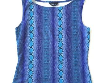 90's Blue Snakeskin High Neckline Top