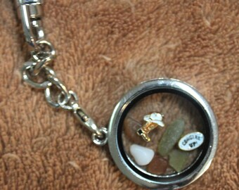 Cowgirl Up Clear Locket  with Sea Glass, Cowboy Boot/Hat Charm, and a Cowgirl Up Charm