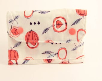 Wallethandmade coin-cards-fabric patterned fruits and vegetables (flexible)