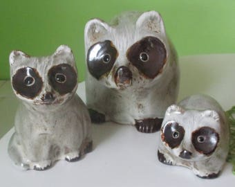 Vintage Pigeon Forge Pottery D Ferguson Family of 3 Raccoons Set Mom & Babies