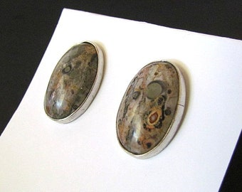 Sterling Silver & Jasper Earrings Signed DG