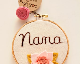 Nana Gift. Gift for Grandma. Mother's Day Gift. Nanna Gift. Embroidery Hoop Art. Gift for Best Grandma. 3D Wall Art by Catshy Crafts