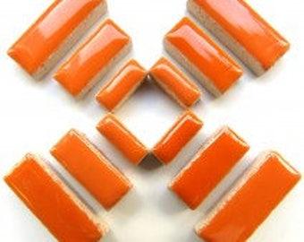Popsicle Tangerine Orange Glazed Ceramic RECTANGLES (3 sizes a set)//Border Tiles//Mosaic Tiles//Craft Supplies//Mosaic Pieces