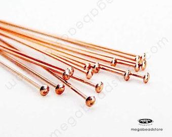25 pcs 24 Gauge Rose Gold Filled Head Pins 24 gauge Flat Head 2 in. F42RGF