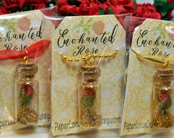 Red Enchanted Rose, Beauty & the Beast Inspired, Necklace Party Favors with Golden Glitter