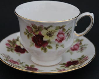 """Queen Anne Bone China Teacup and Saucer Set """"Pattern Number 8501"""""""