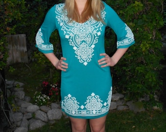 Dresses, Womens Clothing, Western Clothing, Ladies Clothing, Embroidery, Jade Green with White,XS S M L, 3/4 Sleeve, V Neck,  Sale