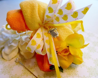 Duck Baby Shower..Duck Corsage...Baby Quackers Washcloth Duck...Mom To Be Corsage..Mommy's Little Duckling..Washcloth Animal :)
