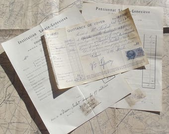 Lot of Vintage French Receipts Household invoices Expenses Food stamps 1920s 1930s