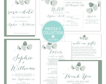 Protea 5 - Wedding invitation, wedding invitation set, protea flower, native bouquet