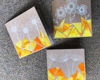 Yellow Collage Flowers - Set of 3 Cards - Original Artwork