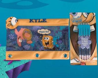 Spongebob 3 Ring Pencil Case Pouch - Monogrammed