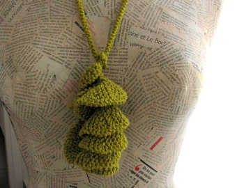 Textile jewelry--Unique Knitting necklace-Fiber jewelry--Curly necklace-Jewelry -Cotton- GREEN MINT Gift Chrsitmas gift Free shipping