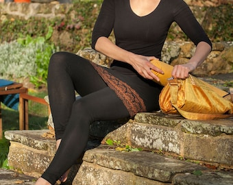 Black Leggings with skirt attached