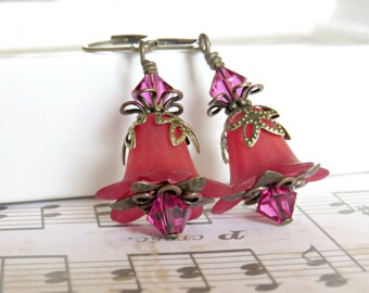 Merlot Lucite Flower Earrings, Hand dyed with Fuchsia Swarovski Crystals