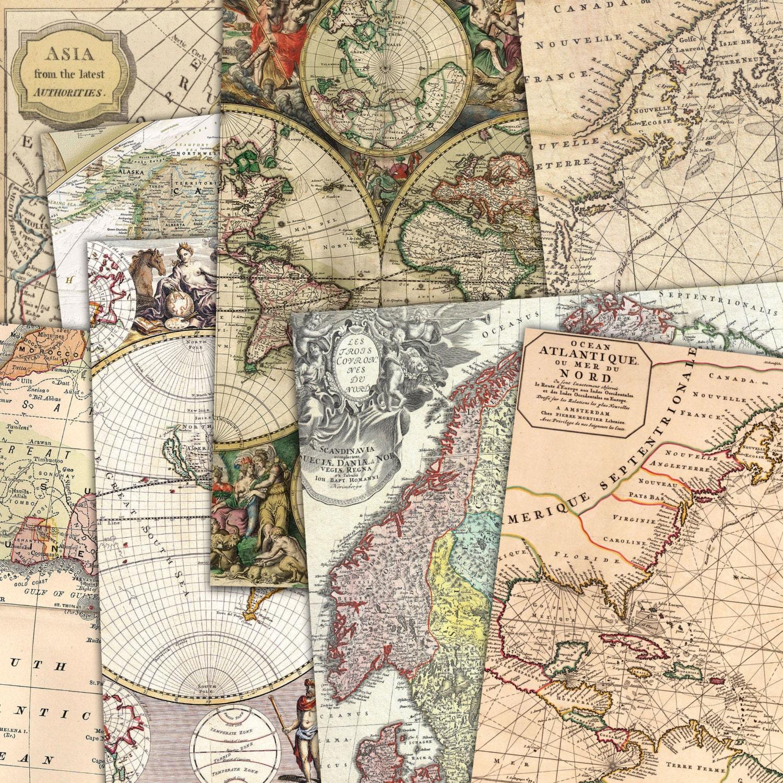 Descargar mapas Vintage - instante, papel Digital, mapas antiguos ...