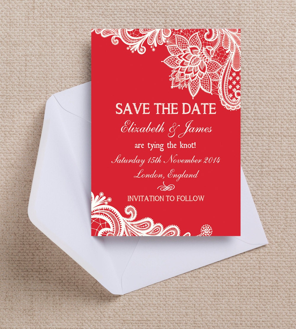 Crimson Red & White Vintage Lace Wedding Save the Date Cards