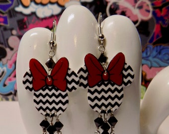Minnie Mouse Chevron Dangle Earrings