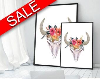 Skull Prints Wall Art Bull Digital Download Skull  Instant Download Bull Frame And Canvas Available watercolor skull flowers skull cow skull