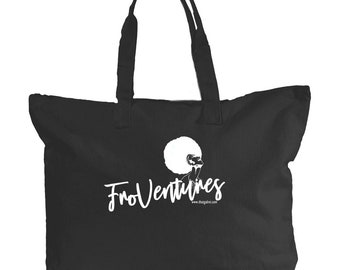 Froventures Canvas Zippered Book Tote Black